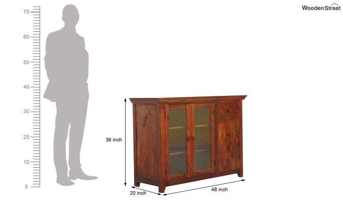 Earnville Kitchen Cabinet (Honey Finish)-7