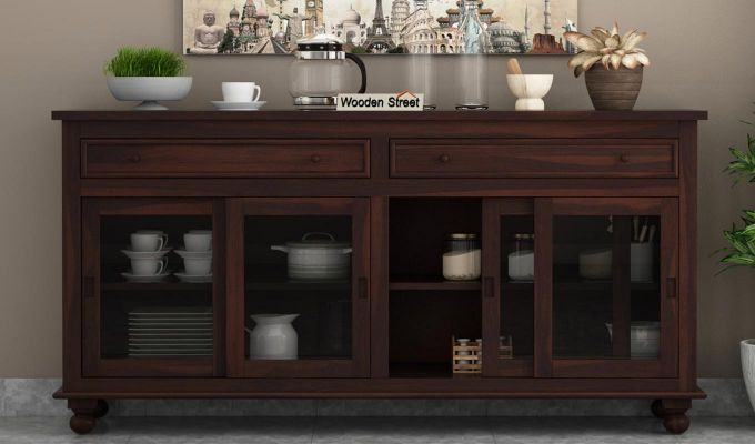 Pryce Kitchen Cabinet (Walnut Finish)-2