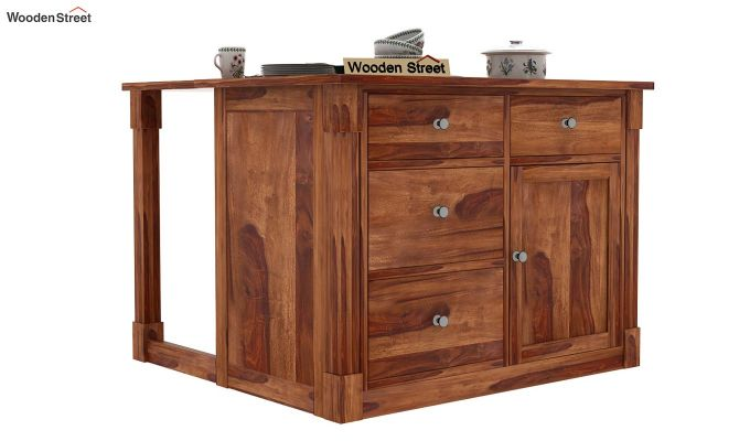 Buy Belle Kitchen Island Teak Finish Online In India Wooden Street