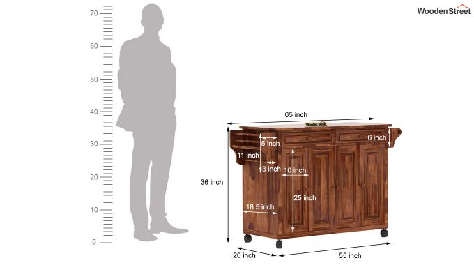 Elsa Kitchen Island (Teak Finish)-7