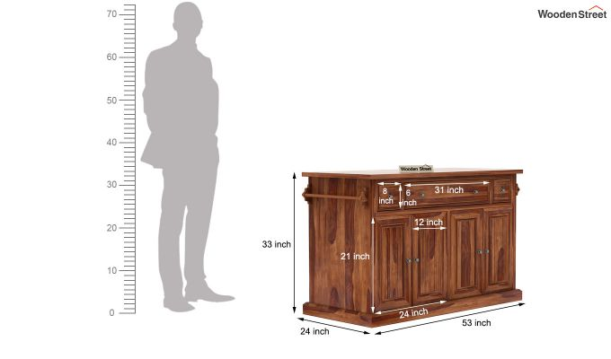 Tiana Kitchen Island (Teak Finish)-7
