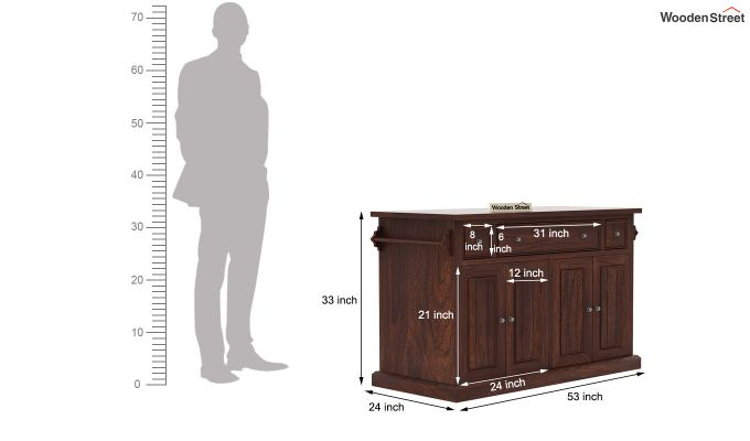 Tiana Kitchen Island (Walnut Finish)-8