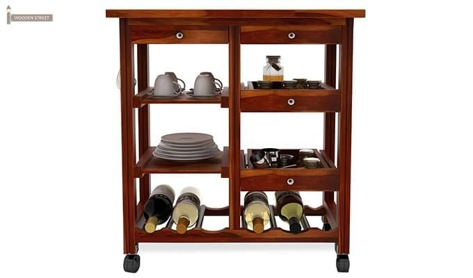 Kansis Kitchen Trolley (Honey Finish)-3