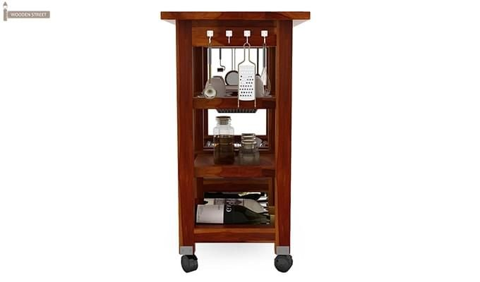 Kansis Kitchen Trolley (Honey Finish)-5