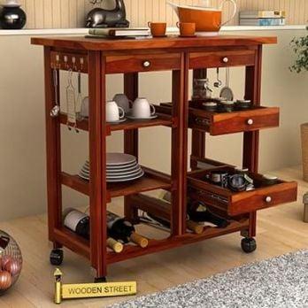 Buy Modern Wooden Kitchen Trolleys Online InIndia