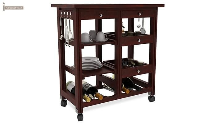 Kansis Kitchen Trolley (Mahogany Finish)-2