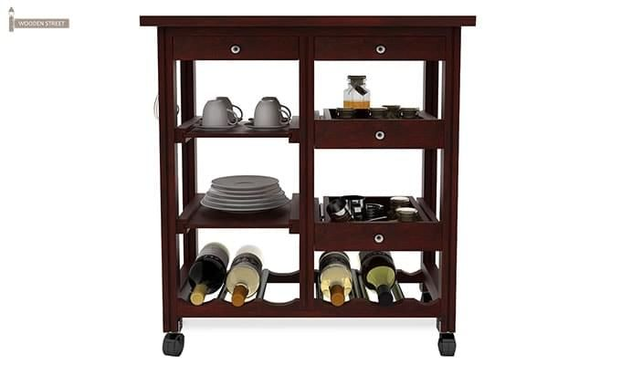 Kansis Kitchen Trolley (Mahogany Finish)-3