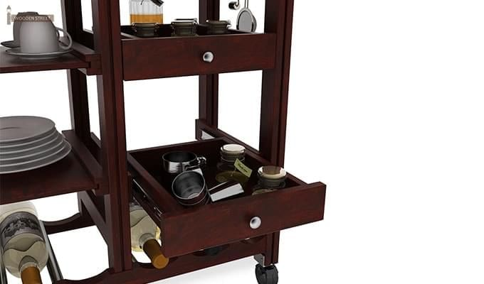 Kansis Kitchen Trolley (Mahogany Finish)-4