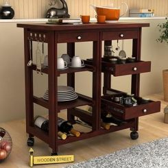 Kansis Kitchen Trolley (Mahogany Finish)