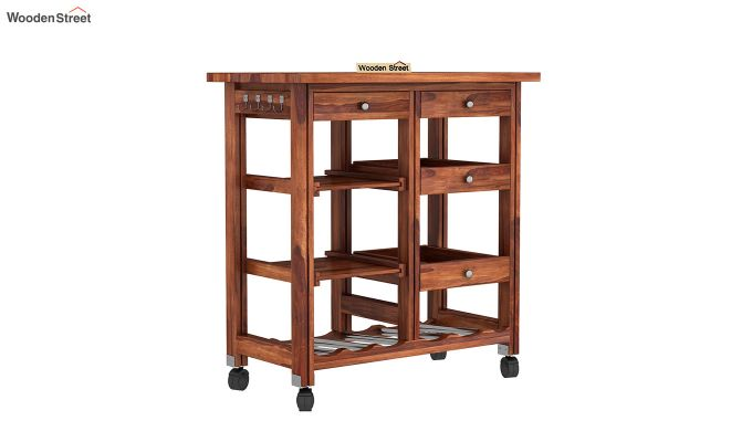 Kansis Kitchen Trolley (Honey Finish)-2