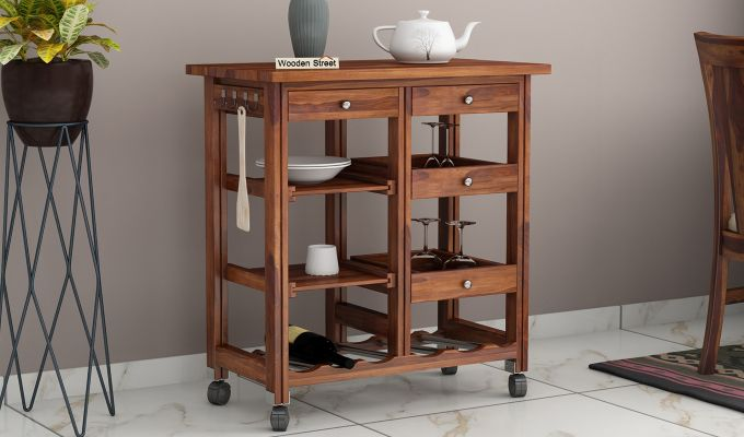 Kansis Kitchen Trolley (Honey Finish)-1