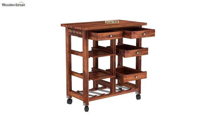 Kansis Kitchen Trolley (Teak Finish)-4