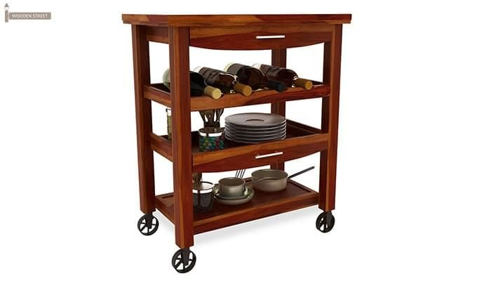 Nedra Kitchen Trolley (Honey Finish)-2