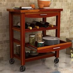 Nedra Kitchen Trolley (Honey Finish)