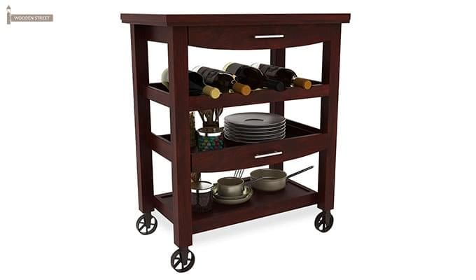 Nedra Kitchen Trolley (Mahogany Finish)-2