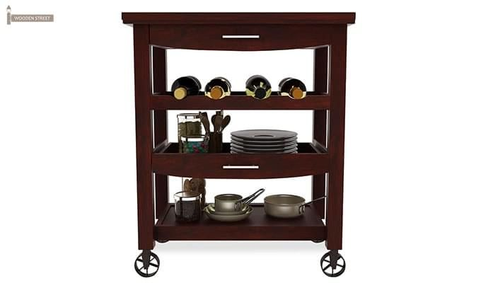 Nedra Kitchen Trolley (Mahogany Finish)-3