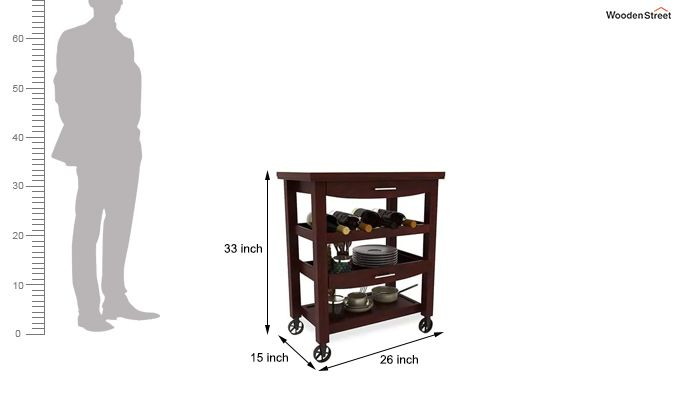 Nedra Kitchen Trolley (Mahogany Finish)-5