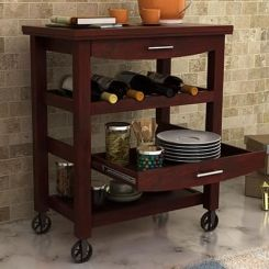 Nedra Kitchen Trolley (Mahogany Finish)