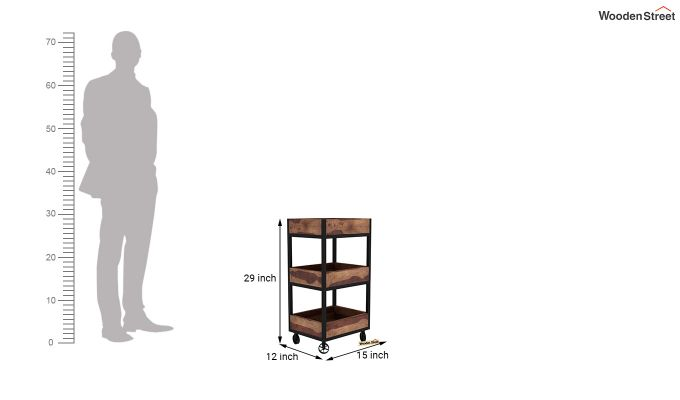 Neptuna Loft Kitchen Trolley (Teak Finish)-5