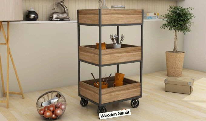 Neptuna Loft Kitchen Trolley (Natural Finish)-1