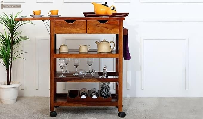 Sonic Kitchen Trolley (Honey Finish)-1