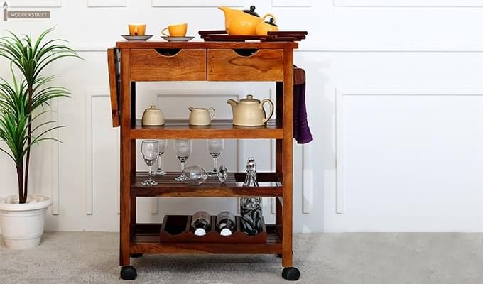 Sonic Kitchen Trolley (Honey Finish)-2