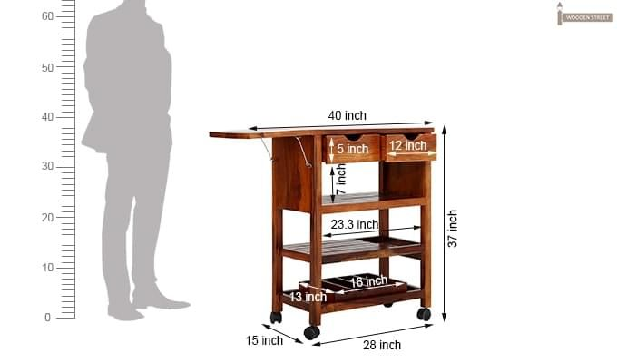 Sonic Kitchen Trolley (Honey Finish)-11