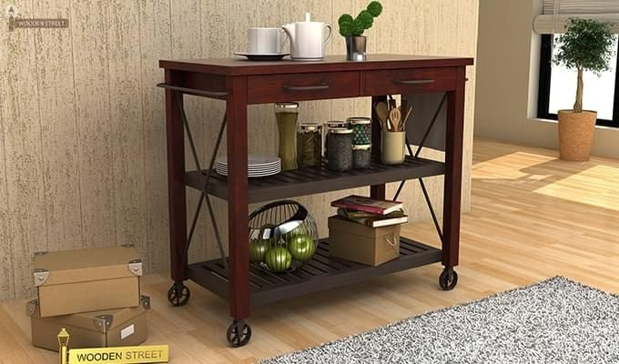 Toronto Kitchen Trolley (Mahogany Finish)-1