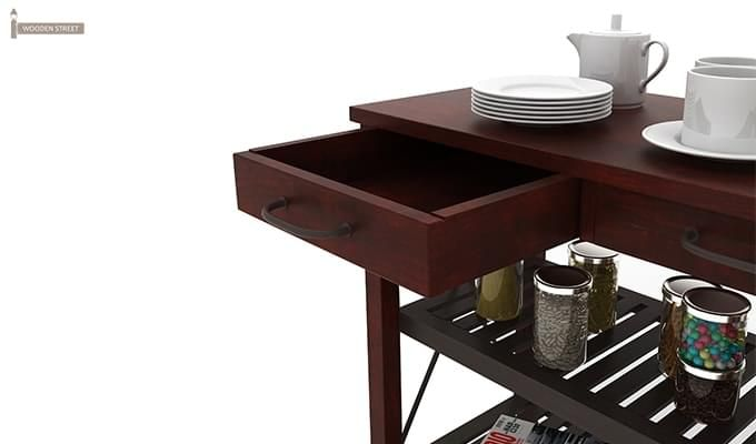 Toronto Kitchen Trolley (Mahogany Finish)-6