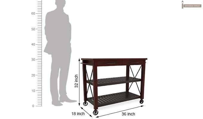 Toronto Kitchen Trolley (Mahogany Finish)-7