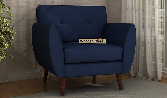 Angela 1 Seater Sofa (Fabric, Indigo Ink)-1