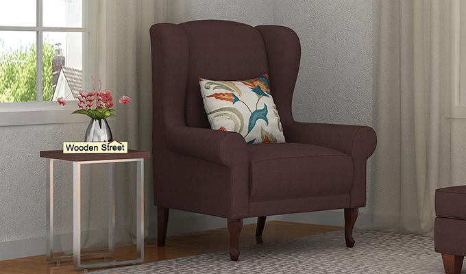 Ariel Wingback Chair (Fabric, Classic Brown)-1