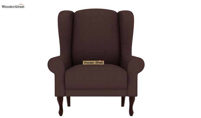 Ariel Wingback Chair (Fabric, Classic Brown)-3