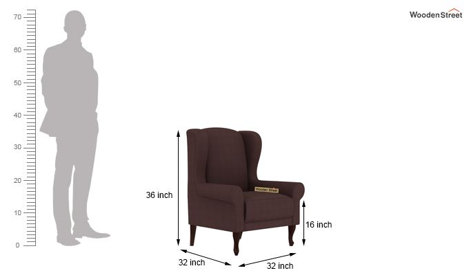 Ariel Wingback Chair (Fabric, Classic Brown)-4