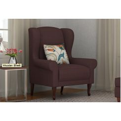 Ariel Wingback Chair (Fabric, Classic Brown)