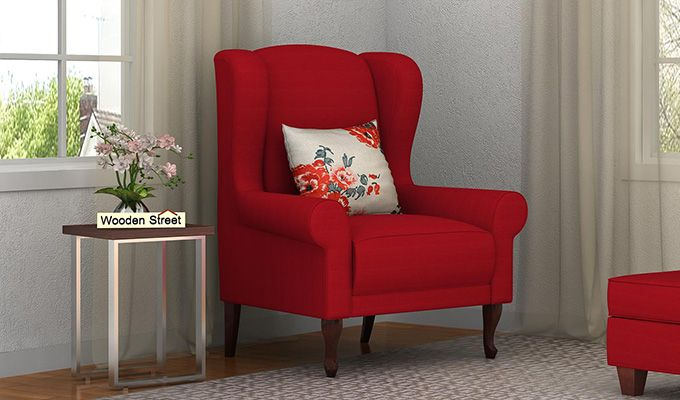 Ariel Wingback Chair (Fabric, Dusky Rose)-1
