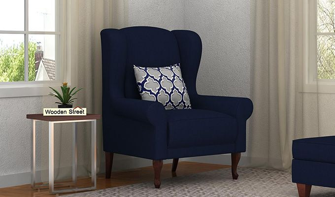 Ariel Wingback Chair (Fabric, Indigo Ink)-1