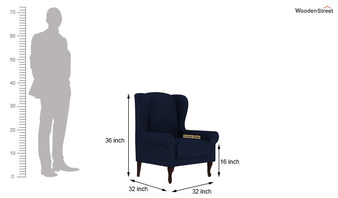 Ariel Wingback Chair (Fabric, Indigo Ink)-4