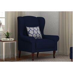 Ariel Wingback Chair (Fabric, Indigo Ink)