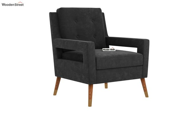 Boris Arm Chair (Velvet, Graphite Grey)-2