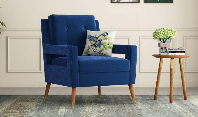 Boris Lounge Chair (Velvet, Indigo Blue)-1