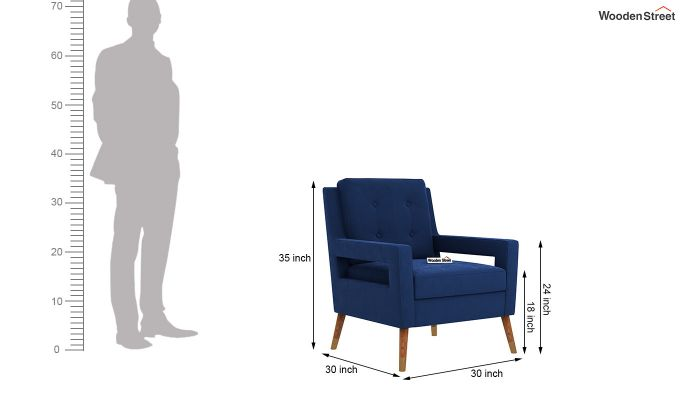 Boris Lounge Chair (Velvet, Indigo Blue)-5