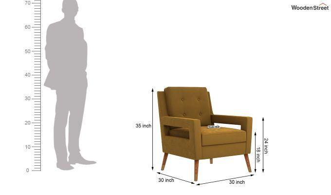 Boris Arm Chair (Velvet, Olive Gold)-5