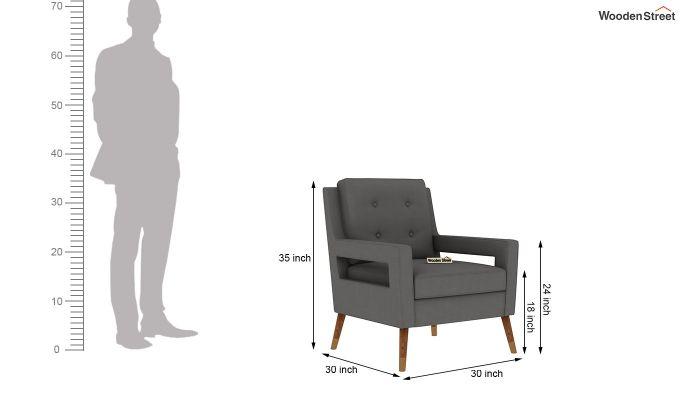 Boris Arm Chair (Fabric, Warm Grey)-5