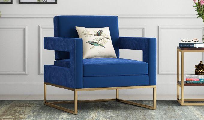 Cargo Arm Chair (Velvet, Indigo Blue)-1