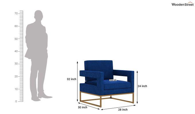 Cargo Arm Chair (Velvet, Indigo Blue)-5