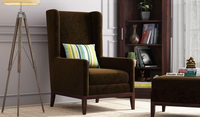 Joan Lounge Chair (Velvet, Chocolate Brown)-1