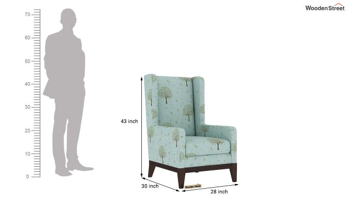 Joan Wingback Chair (Linen, Teal Pomme)-4