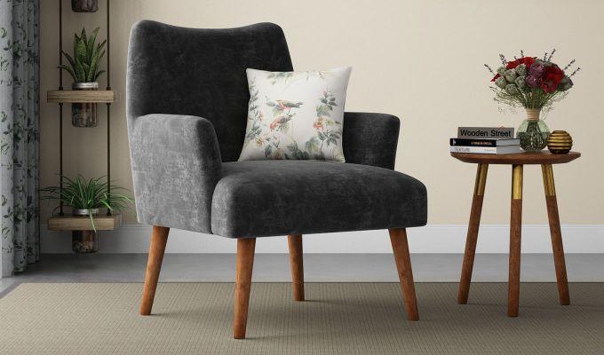 Pesto Lounge Chair (Velvet, Graphite Grey)-1