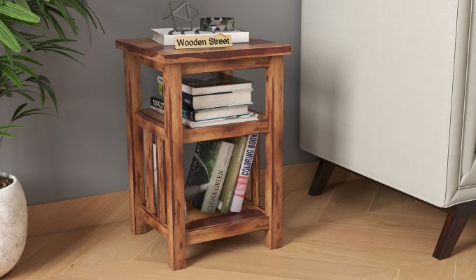 Alden Magazine Rack (Teak Finish)-1